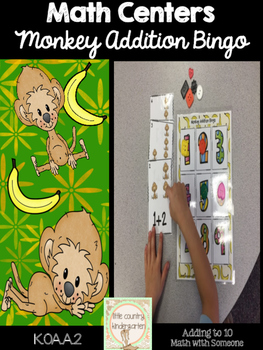 Monkey Addition Cards: Math Facts 1-10 Bingo Game