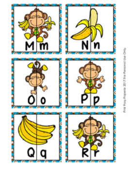 Monkey Alphabet Letter Match Puzzles