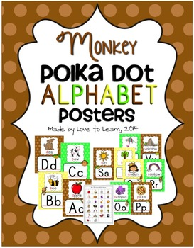 Monkey Alphabet Posters - Polka Dot