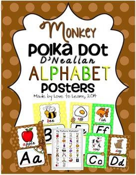 Monkey Alphabet Posters - Polka Dot - D'Nealian Manuscript