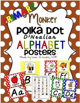 Monkey Alphabet Posters - Primary Polka Dot - D'Nealian Manuscript