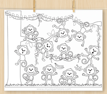Monkey Around Clipart - BLACKLINE - color me, with outlines