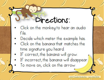 Monkey Around with Meter - An Aural Time Signature Game for 2/4, 3/4 & 4/4