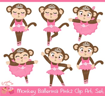 Monkey Ballerina Pink2 Clipart Set
