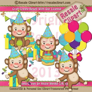 Monkey Birthday Boys ClipArt - Commercial Use
