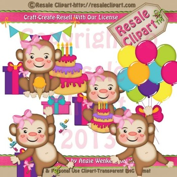 Monkey Birthday Girls ClipArt - Commercial Use