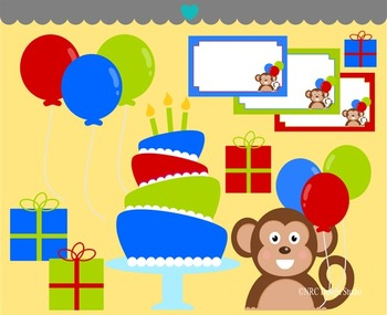 Monkey birthday party clipart commercial use