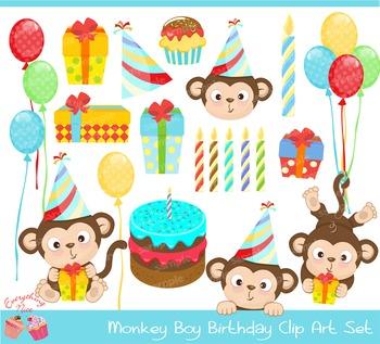 Monkey Boy Birthday Clipart Set