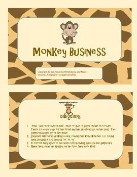 """Monkey Business!  An Activity for Reading and Spelling """"ee"""