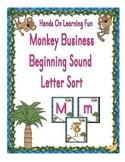 Monkey Business Beginning Sound Letter Alphabet Sort