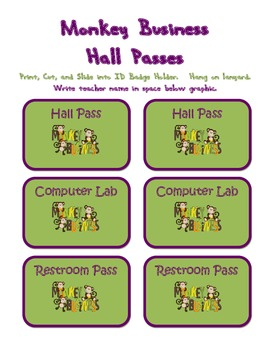 Monkey Business Hall Passes