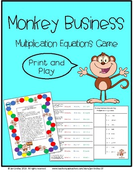 Monkey Business-Math Game with Multiplication Equations