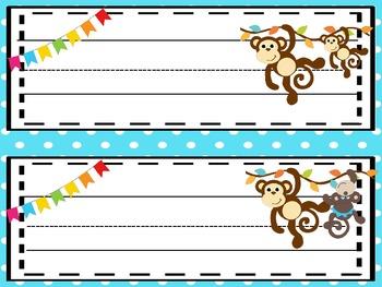Monkey Business Editable  Name Plates