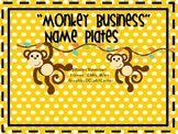 Monkey Business Editable  Name Plates