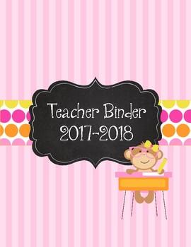 Monkey Business! Pink and Polka Dot Teacher Binder 2017-2018. Monkey Theme