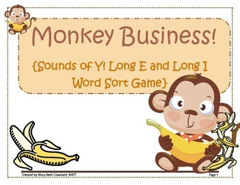 Monkey Business! {Sounds of Y! Word Sort}