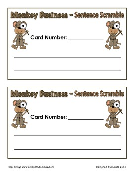 Monkey Business Theme - Sentence Scramble