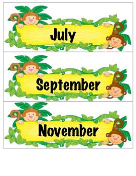 Monkey Calendar Months