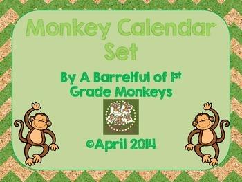 Monkey Calendar Routine Set - Dark Green