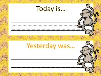 Monkey Calendar Routine Set - Yellow