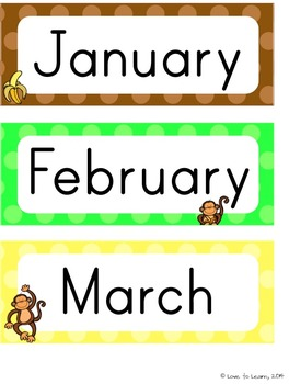 Monkey Calendar Set - Polka Dot