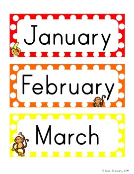 Monkey Calendar Set - Rainbow Polka Dot