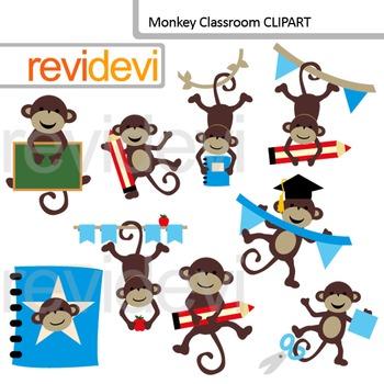 Monkey Classroom Clip Art / Back to school clipart