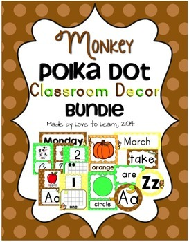 Monkey Classroom Decor Bundle - Polka Dot