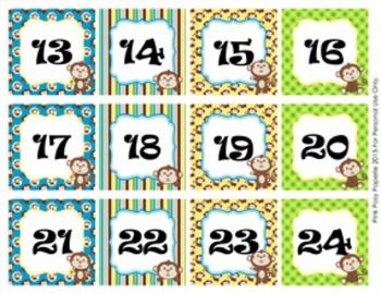 Monkey Classroom Decor Monthly Calendar Numbers