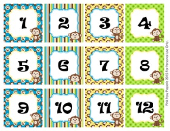 Monkey Classroom Decor Monthly Calendar Numbers