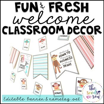Monkey Classroom Decor {Nametags and Banner}