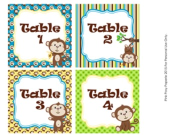 Monkey Classroom Decor Table Numbers