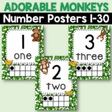 Classroom Decor Monkey Classroom Number Posters 1-20 Jungle