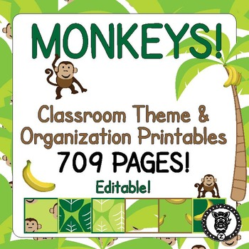 Classroom Theme Decor / Organization - Mega Bundle (Editable!) - Monkey Jungle
