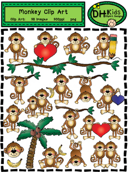 Monkey Clip Art - Personal and Commercial Use