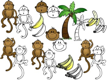 Monkey Clip Art Set - Color and Black-White