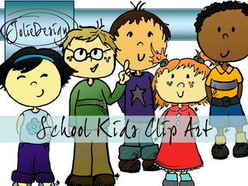 School Kids Clip Art Set - Color and Line Art