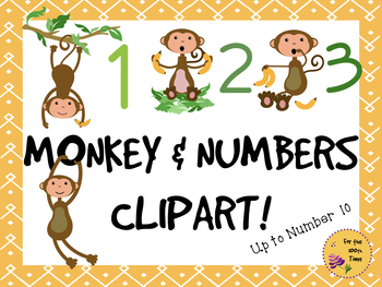 Monkey & Bananas Clipart Numbers 1-10- Great for TpT Sellers & Room Decoration!