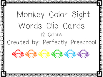Monkey Color Sight Word Clip Cards