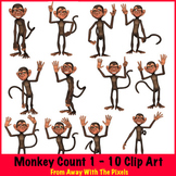 Monkey Counts 1 - 10 Clip Art - OK for Commercial Use & Powerpoint, IWB etc