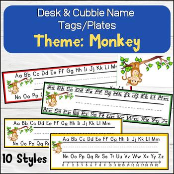 Monkey (Cute Animals) Desk / Name / Cubbie Tags
