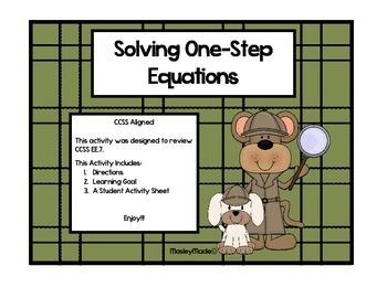 Monkey Detectives Investigate Algebra CCSS 6EE7
