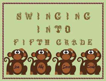 Monkey Door Decoration: Swinging into Fifth Grade!
