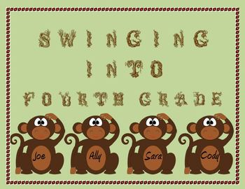 Monkey Door Decoration: Swinging into Fourth Grade!