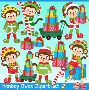 Monkey Elves Elf Santa's Elves, Christmas Elves Clipart Set