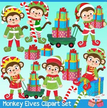 Monkey Elves Elf Santa's Elves, Christmas Elves Clipart Set