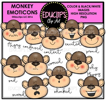 Monkey Emoticons Clip Art Bundle {Educlips Clipart}
