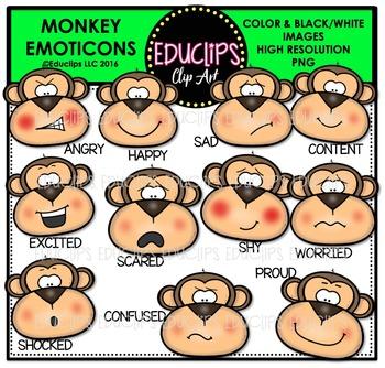 Monkey Emoticons Clip Art Bundle  {Educlips Clipart}