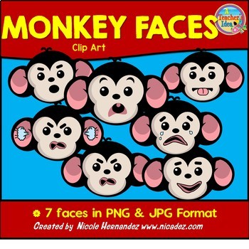 Monkey Face Emotions Clip Art for Teachers