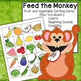Monkey Feed Fruit Vegetables Sorting for Toddler, Preschool, Kindergarten